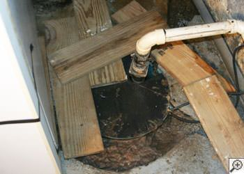 An ugly, clogged sump pump system in Mesquite, Texas