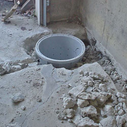 Placing a sump pit in a Weatherford home
