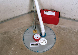 A sump pump system with a battery backup system installed in Grapevine